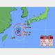 24日午前11時の台風8号の推定位置と24時間進路予想。