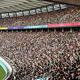 6日のニュージーランド—ナミビア戦で、大勢の観客が訪れた東京スタジアム=2019年10月6日午後3時16分、東京都調布市、福留庸友撮影