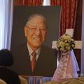 ペンキをかけられる李元総統の遺影。台北賓館の一室に設けられる