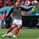 サッカー欧州選手権、グループB、デンマーク対フィンランド。試合前のウオーミングアップに臨むデンマークのクリスティアン・エリクセン(2021年6月12日撮影)。(c)Jonathan NACKSTRAND / various sources / AFP