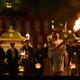 鞍馬の火祭で松明を掲げる男性=22日午後、京都市左京区(永田直也撮影)