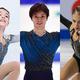 アンナ・シェルバコワ(左)、宇野昌磨(中央)、アレクサンドラ・トルソワ(右)【写真:Getty Images】