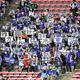 中日ドラゴンズの七回表の攻撃前に、応援歌を歌いながら「がんばろう東北」の青いボードを掲げる中日ファン。3連戦全てで掲げられた=2021年6月10日、楽天生命パーク宮城、楽天野球団提供