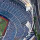 入場者は収容率50%以内との規制がかかった状態の横浜スタジアム=2020年9月19日午後、横浜市中区、朝日新聞社ヘリから、上田幸一撮影