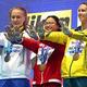 池江璃花子へ向けてメッセージを送る女子100メートルバタフライのメダリストたち【写真:Getty Images】