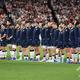 ラグビーW杯日本大会・プールA、日本対スコットランド。ピッチに整列するスコットランドの選手(2019年10月13日撮影)。(c)William WEST / AFP