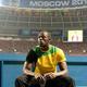 男子100m・決勝にて。  写真は、競技開始を静かに待つ、ウサイン・ボルト(ジャマイカ)。  (撮影:フォート・キシモト)  [2013年8月11日、ルジニキ・スタジアム/モスクワ/ロシア]