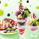 ふわふわマスカルポーネと2色ぶどうのパンケーキ(税抜き799円)、信州産2色ぶどうのパフェ(税抜き799円)、自家製プリンと2色のまるごとぶどうサンデー(税抜き599円)