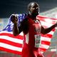 男子100m・決勝にて。  写真は、9秒85で銀メダルに輝いたガトリン(米国)。  (撮影:フォート・キシモト)  [2013年8月11日、ルジニキ・スタジアム/モスクワ/ロシア]
