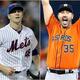 米大リーグ(MLB)、2019年シーズンのサイ・ヤング賞を受賞したニューヨーク・メッツのジェイコブ・デグロム(左)とヒューストン・アストロズのジャスティン・ヴァーランダーのコンボ写真(2019年11月14日作成)。(c)AFP/Getty Images/ELSA/Vaughn Ridley
