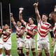 ラグビーW杯でアイルランドに勝利し、喜ぶ日本代表の選手たち Photo:AFP=JIJI