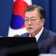 韓国の文在寅大統領=2月16日、ソウル(EPA時事)