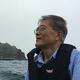 竹島上陸のために船で向かう文大統領