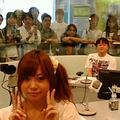渋谷スペイン坂スタジオにて左より星村麻衣、荘口彰久、高樹千佳