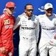 19F1第8戦フランスGP予選。(左から)3番手に入ったフェラーリのシャルル・ルクレール、ポールポジションを獲得したメルセデスAMGのルイス・ハミルトン、2番手に入ったメルセデスAMGのバルテリ・ボッタス(2019年6月22日撮影)。(c)GERARD JULIEN / AFP