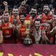 FIBAバスケットボール・ワールドカップ決勝、アルゼンチン対スペイン。優勝を喜ぶスペインの選手(2019年9月15日撮影)。(c)GREG BAKER/ AFP