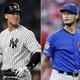 米大リーグ(MLB)でプレーするアーロン・ジャッジ(左)とダルビッシュ有(2020年2月19日作成)。(c)AFP/Getty Images/Elsa/Joe Robbins