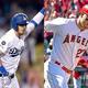 米大リーグ(MLB)、2019年シーズンのMVPに選出されたロサンゼルス・ドジャースのコディ・ベリンジャー(左)とロサンゼルス・エンゼルスのマイク・トラウトのコンボ写真(2019年11月15日作成)。(c)Jayne Kamin-Oncea/Harry How/Getty Images/AFP
