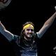 男子テニス、ATPワールドツアー・ファイナルズ4日目。勝利を喜ぶステファノス・チチパス(2019年11月13日撮影)。(c)Adrian DENNIS / AFP