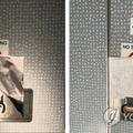 KLM機のトイレの扉に貼られた、ハングルで「乗務員専用トイレ