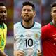 (左から)ブラジル代表FWネイマール、アルゼンチン代表FWメッシ、ポルトガル代表FWロナウド【写真:Getty Images】