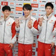 体操 世界選手権から帰国した左から神本、谷川翔、萱、橋本、谷川航=成田空港