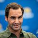 全米オープンテニス開幕前の記者会見に臨むロジャー・フェデラー(2019年8月23日撮影)。(c)Johannes EISELE / AFP
