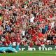 19-20イングランド・プレミアリーグ第3節、リバプール対アーセナル。得点を喜ぶリバプールのモハメド・サラー(中央、2019年8月24日撮影)。(c)Ben STANSALL / AFP