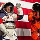 米首都ワシントンで、月面着陸計画「アルテミス」で使う次世代宇宙服を着て登壇した宇宙服担当技術者のクリスティーン・デービス氏(左)と、船内用宇宙服「オリオン乗員生命維持システム(OCSS)」の主任技術者のダスティン・ゴーメルト氏(右、2019年10月15日撮影)。(c)Andrew CABALLERO-REYNOLDS / AFP