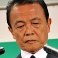 険しい表情の麻生総裁(撮影:山本宏樹)