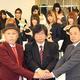会見に出席した(前列左から)スターダムの小川宏代表取締役、ブシロードの木谷高明取締役、キックスロードの原田克彦代表取締役