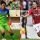 今季のJリーグ、オープニングゲームで対戦する湘南の梅崎司(左)と浦和の興梠慎三(右)。(C)SOCCER DIGEST