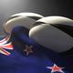 ニュージランド国旗とラグビーボール