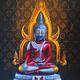 タイで物議を醸したウルトラマン風のブッダの絵画(所有者提供)