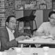 (写真)企業主導型保育園の園長(手前)の話を聞く(左から)田村、中山、山口の各氏=19日、福岡市