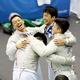中国を破って3位となり、歓喜する日本の選手たち