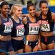 女子4x400mリレー・予選にて。  写真は、予選1組で3着だったフランスチーム。  (撮影:フォート・キシモト)  [2013年8月16日、ルジニキ・スタジアム/モスクワ/ロシア]
