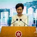 会見で国家安全維持法について説明する香港政府トップの林鄭月娥