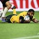 ラグビーW杯日本大会・プールD、オーストラリア対ジョージア。トライを決めるオーストラリアのマリカ・コロイベッテ(2019年10月11日撮影)。(c)Anne-Christine POUJOULAT / AFP