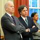 2013年11月、ホワイトハウスで並ぶバイデン氏(左から2人目)とブリンケン氏(同3人目)=ロイター