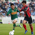 試合終了間際に自ら獲得したPKを決めた松村優太。写真:茂木あき