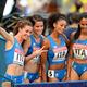 女子4x400mリレー・予選にて。  写真は、予選1組で3着だったイタリアチーム。  (撮影:フォート・キシモト)  [2013年8月16日、ルジニキ・スタジアム/モスクワ/ロシア]