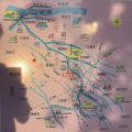 柴山伏越にあった地図。赤丸で囲んだのが、埼玉用水路と邑楽用水