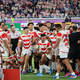 予選プール最終となるスコットランドに勝ち、予選を首位で通過した日本代表は歓喜の雄たけびを上げた(2019年10月13日、横浜国際総合競技場)