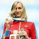 女子走高跳・表彰式より。  2m03を跳んで、新女王に輝いた、地元ロシアのシュコリナ。  (撮影:フォート・キシモト)  [2013年8月18日、ルジニキ・スタジアム/モスクワ/ロシア]
