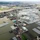 広範囲が浸水した福岡県久留米市。上は筑後川と市街地=2020年7月8日、朝日新聞社ヘリから、堀英治撮影