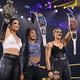 (左から)NXT女子王者ラケル・ゴンザレス、スマックダウン女子王者ビアンカ・ブレア、ロウ女子王者リア・リプリー(2021 WWE, Inc. All Rights Reserved.)