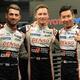第87回ルマン24時間耐久レース予選。ポールポジションを獲得したトヨタ・ガズーレーシング7号車の(左から)ホセ・マリア・ロペス、マイク・コンウェイ、小林可夢偉(2019年6月13日撮影)。(c)JEAN-FRANCOIS MONIER / AFP
