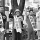 (写真)大激戦となった青葉区の中心街で紙参院議員の応援を受ける花木、すげの、松井の3候補=18日、仙台市