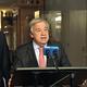 ヘイトスピーチをめぐる国連の行動計画について述べるグテーレス事務総長=2019年6月18日、米ニューヨークの国連本部、藤原学思撮影